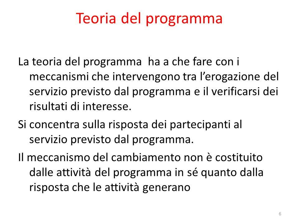 Teoria del programma La teoria del programma ha a che fare con i meccanismi che intervengono tra lerogazione del servizio previsto dal programma e il