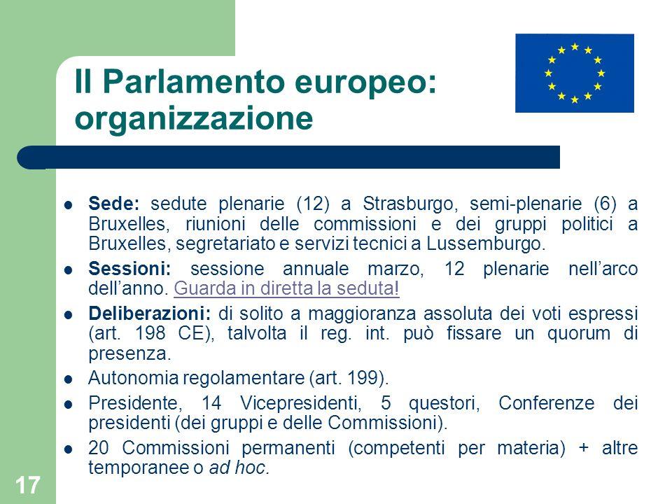 17 Il Parlamento europeo: organizzazione Sede: sedute plenarie (12) a Strasburgo, semi-plenarie (6) a Bruxelles, riunioni delle commissioni e dei grup