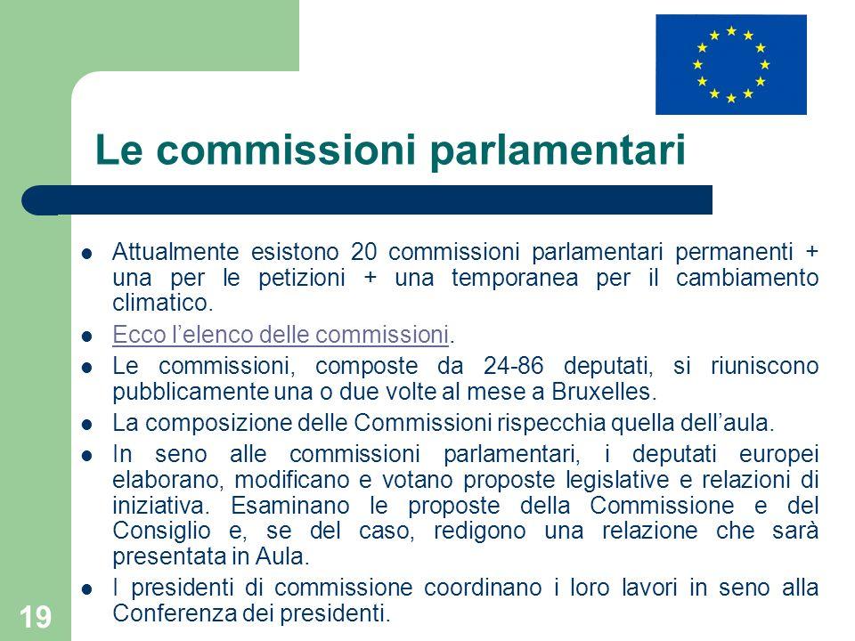 19 Le commissioni parlamentari Attualmente esistono 20 commissioni parlamentari permanenti + una per le petizioni + una temporanea per il cambiamento