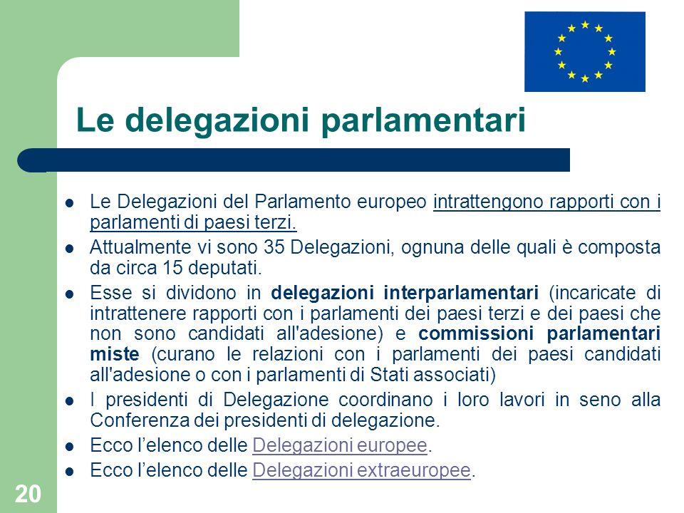 20 Le delegazioni parlamentari Le Delegazioni del Parlamento europeo intrattengono rapporti con i parlamenti di paesi terzi. Attualmente vi sono 35 De