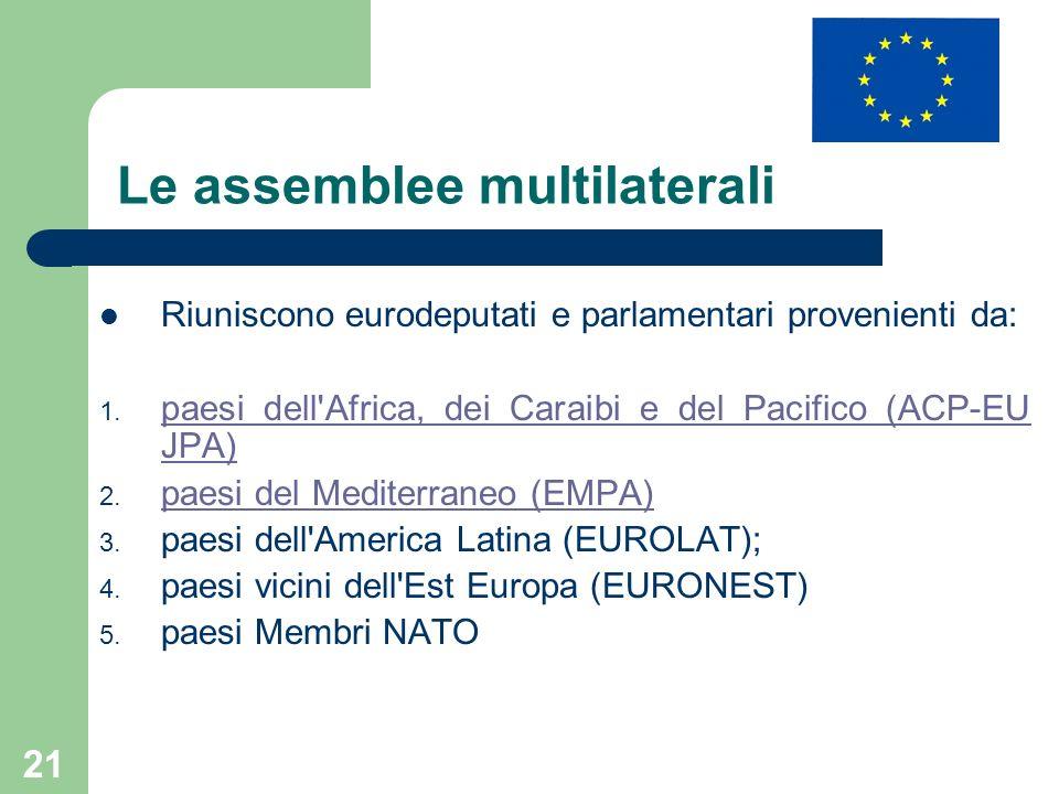 21 Le assemblee multilaterali Riuniscono eurodeputati e parlamentari provenienti da: 1. paesi dell'Africa, dei Caraibi e del Pacifico (ACP-EU JPA) pae
