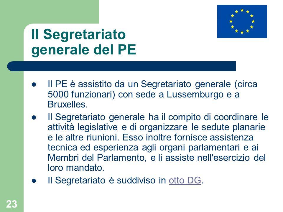 23 Il Segretariato generale del PE Il PE è assistito da un Segretariato generale (circa 5000 funzionari) con sede a Lussemburgo e a Bruxelles. Il Segr