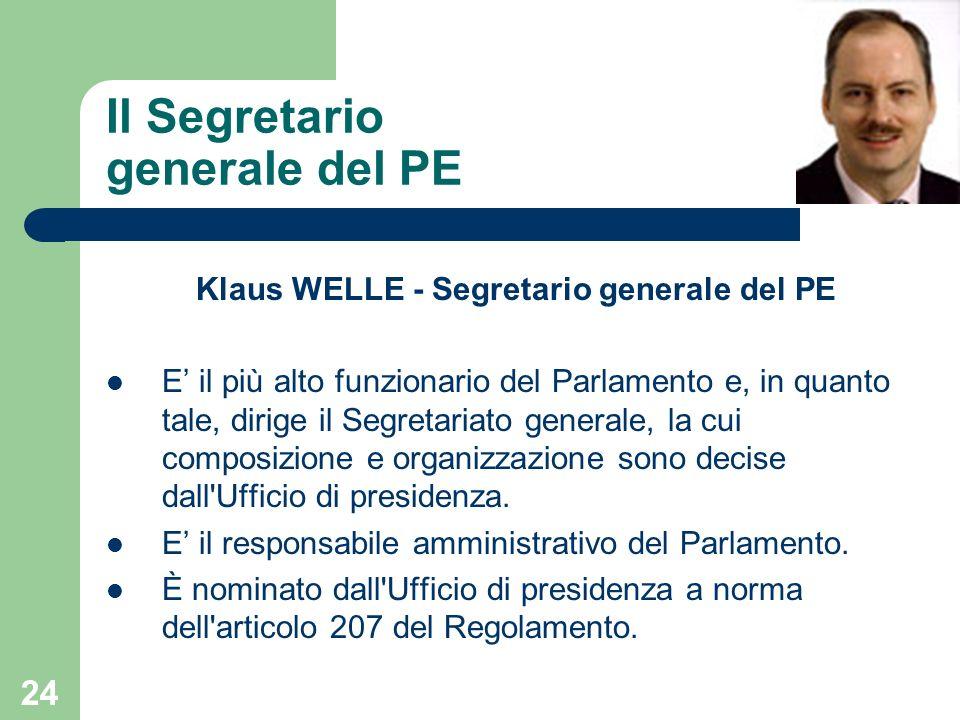 24 Il Segretario generale del PE Klaus WELLE - Segretario generale del PE E il più alto funzionario del Parlamento e, in quanto tale, dirige il Segret