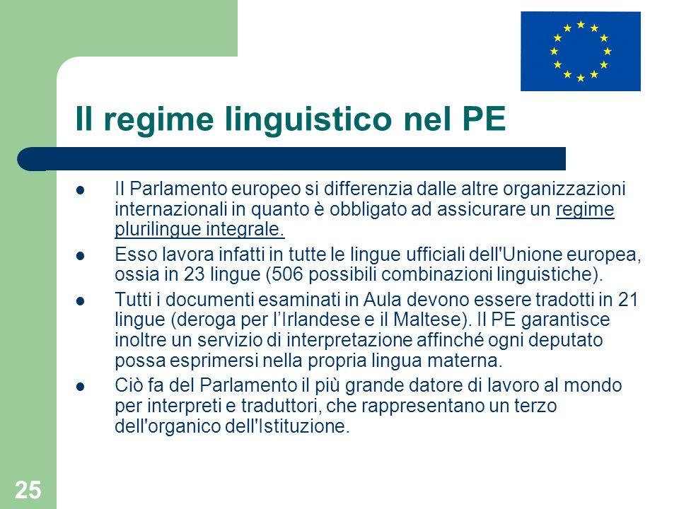 25 Il regime linguistico nel PE Il Parlamento europeo si differenzia dalle altre organizzazioni internazionali in quanto è obbligato ad assicurare un