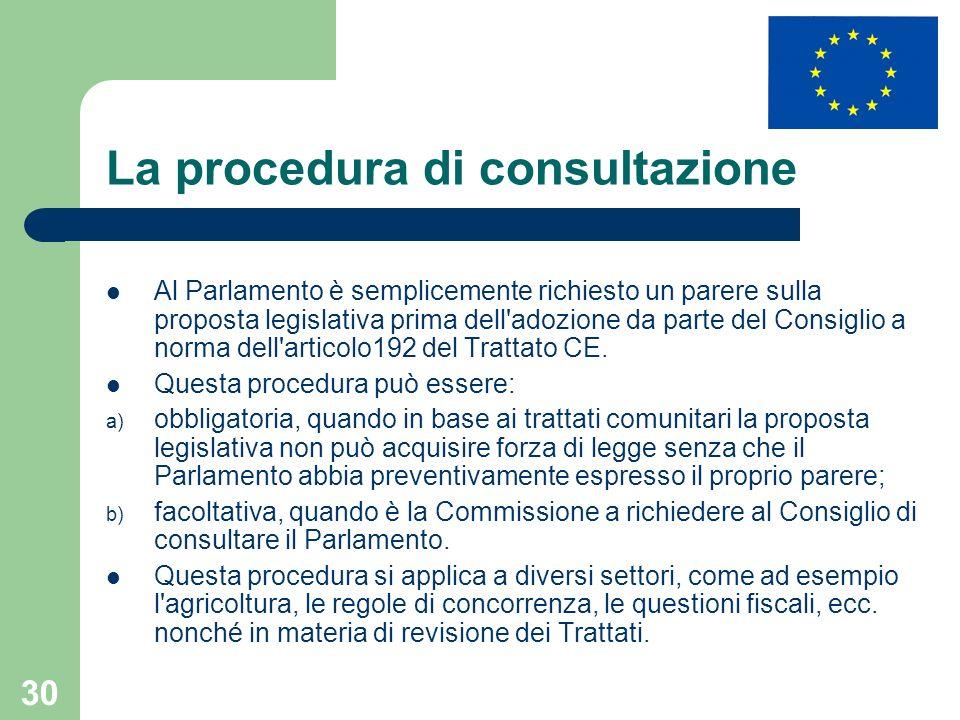 30 La procedura di consultazione Al Parlamento è semplicemente richiesto un parere sulla proposta legislativa prima dell'adozione da parte del Consigl