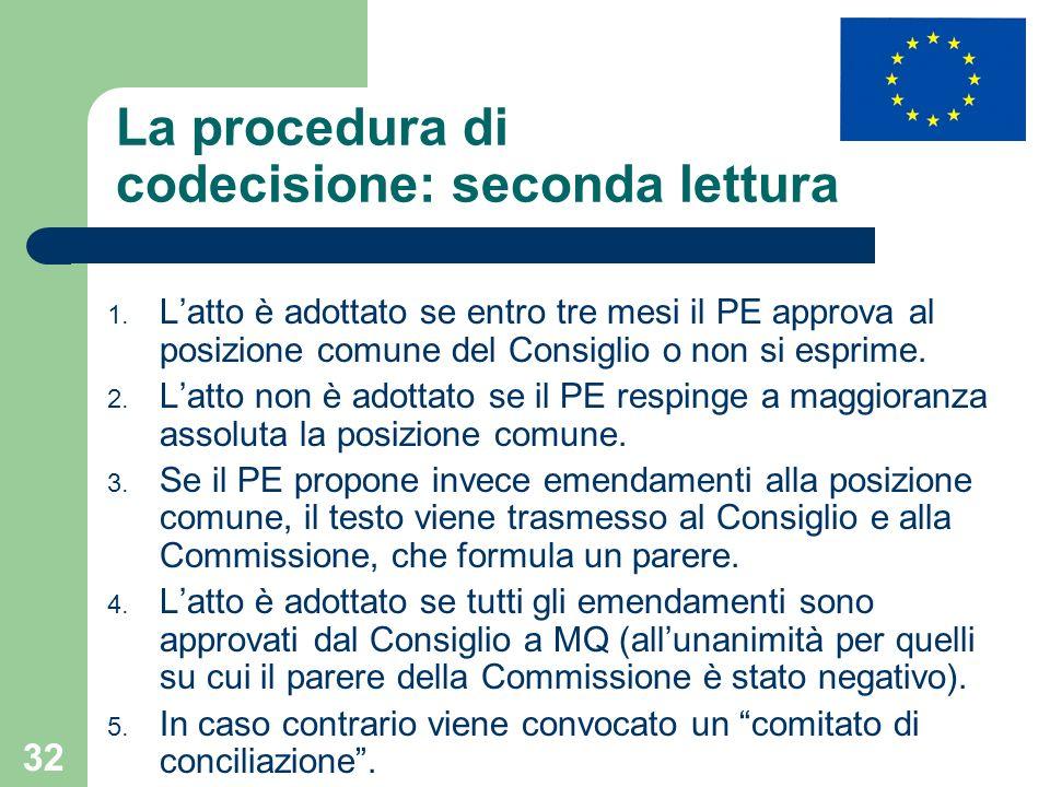 32 La procedura di codecisione: seconda lettura 1. Latto è adottato se entro tre mesi il PE approva al posizione comune del Consiglio o non si esprime