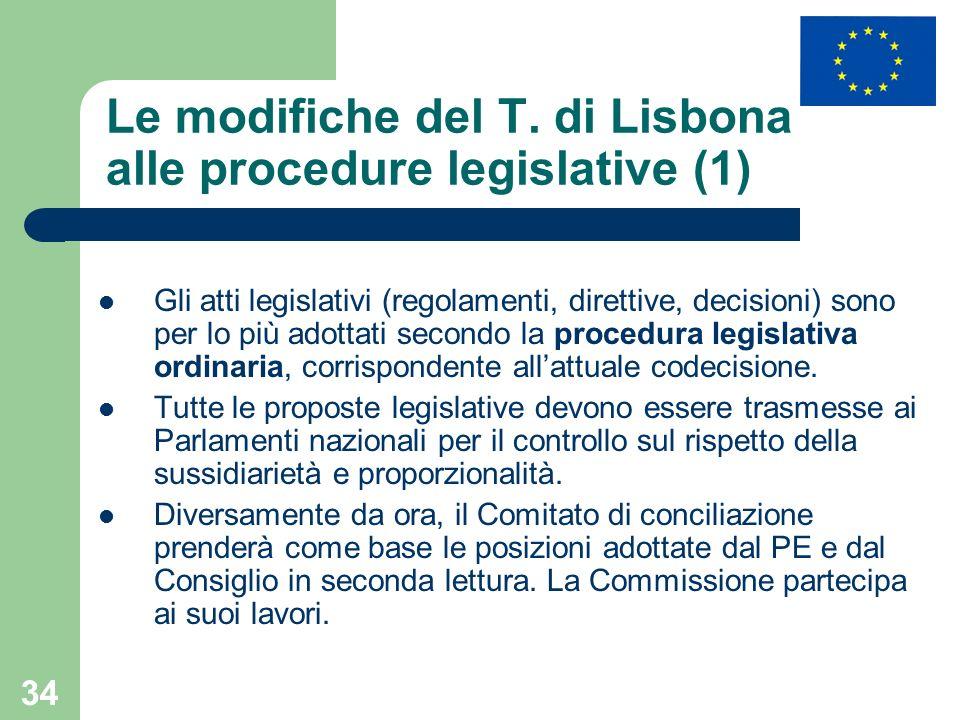 34 Le modifiche del T. di Lisbona alle procedure legislative (1) Gli atti legislativi (regolamenti, direttive, decisioni) sono per lo più adottati sec