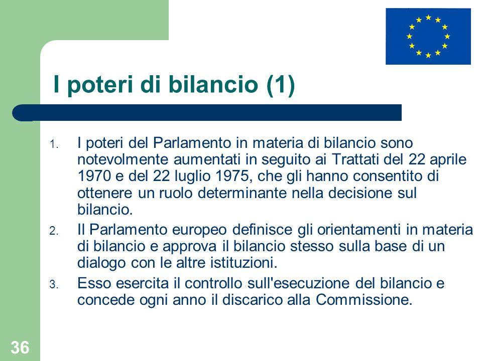 36 I poteri di bilancio (1) 1. I poteri del Parlamento in materia di bilancio sono notevolmente aumentati in seguito ai Trattati del 22 aprile 1970 e