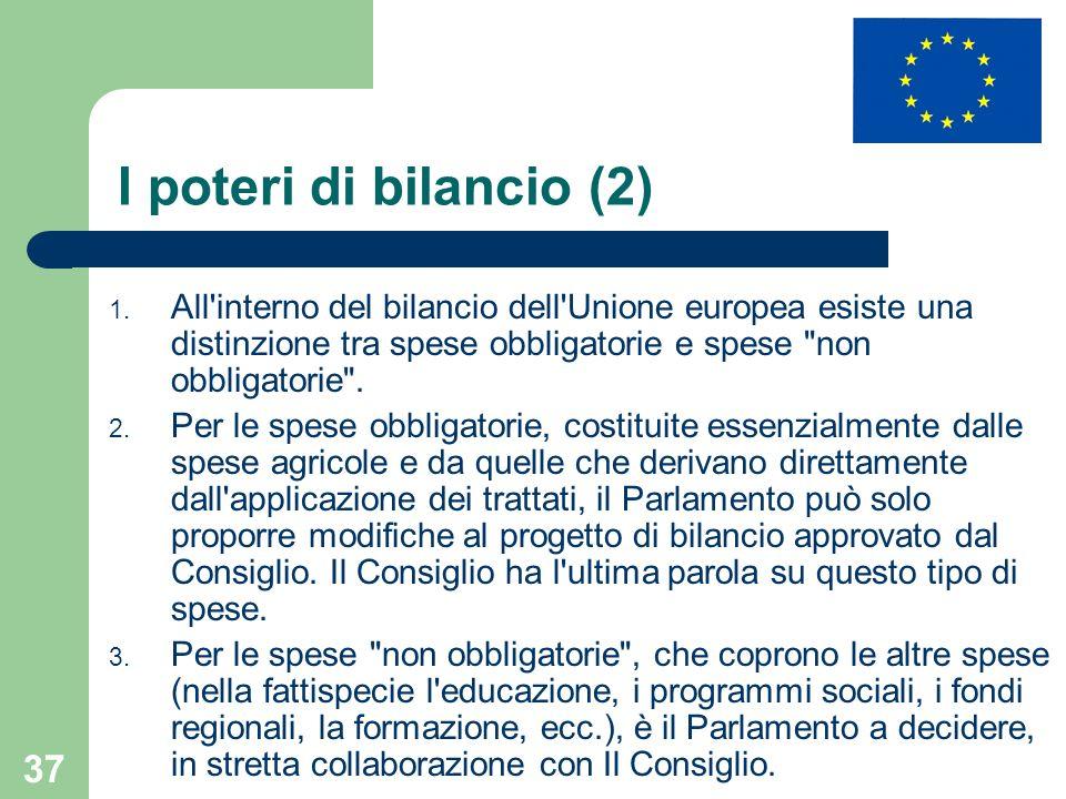 37 I poteri di bilancio (2) 1. All'interno del bilancio dell'Unione europea esiste una distinzione tra spese obbligatorie e spese