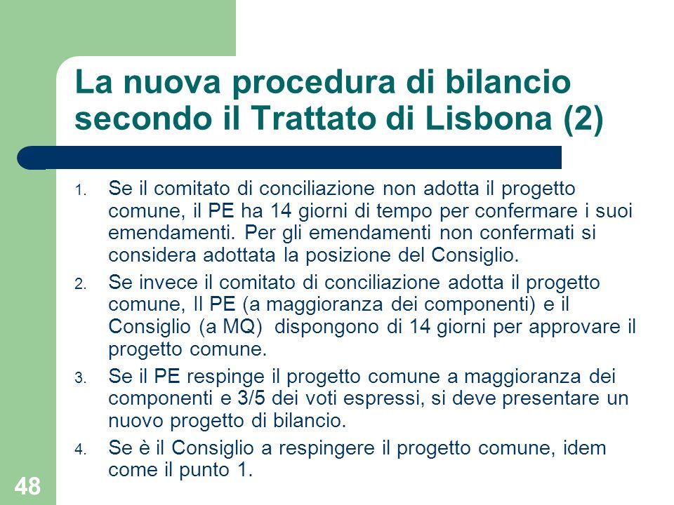 48 La nuova procedura di bilancio secondo il Trattato di Lisbona (2) 1. Se il comitato di conciliazione non adotta il progetto comune, il PE ha 14 gio