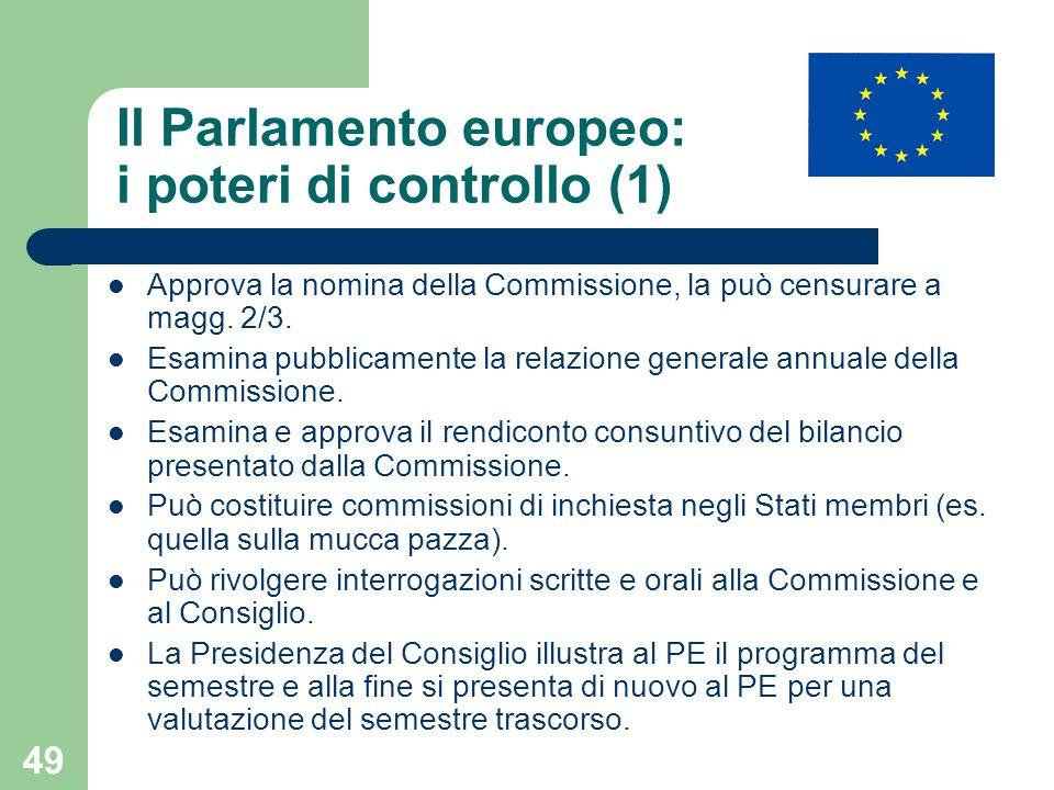 49 Il Parlamento europeo: i poteri di controllo (1) Approva la nomina della Commissione, la può censurare a magg. 2/3. Esamina pubblicamente la relazi