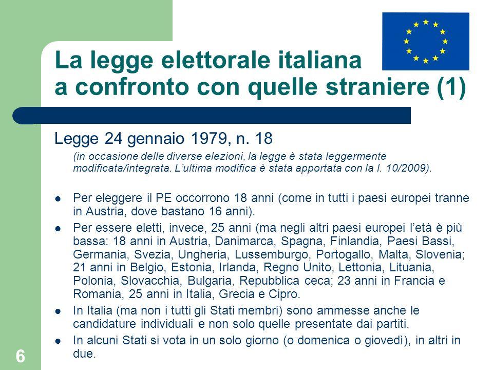6 La legge elettorale italiana a confronto con quelle straniere (1) Legge 24 gennaio 1979, n. 18 (in occasione delle diverse elezioni, la legge è stat