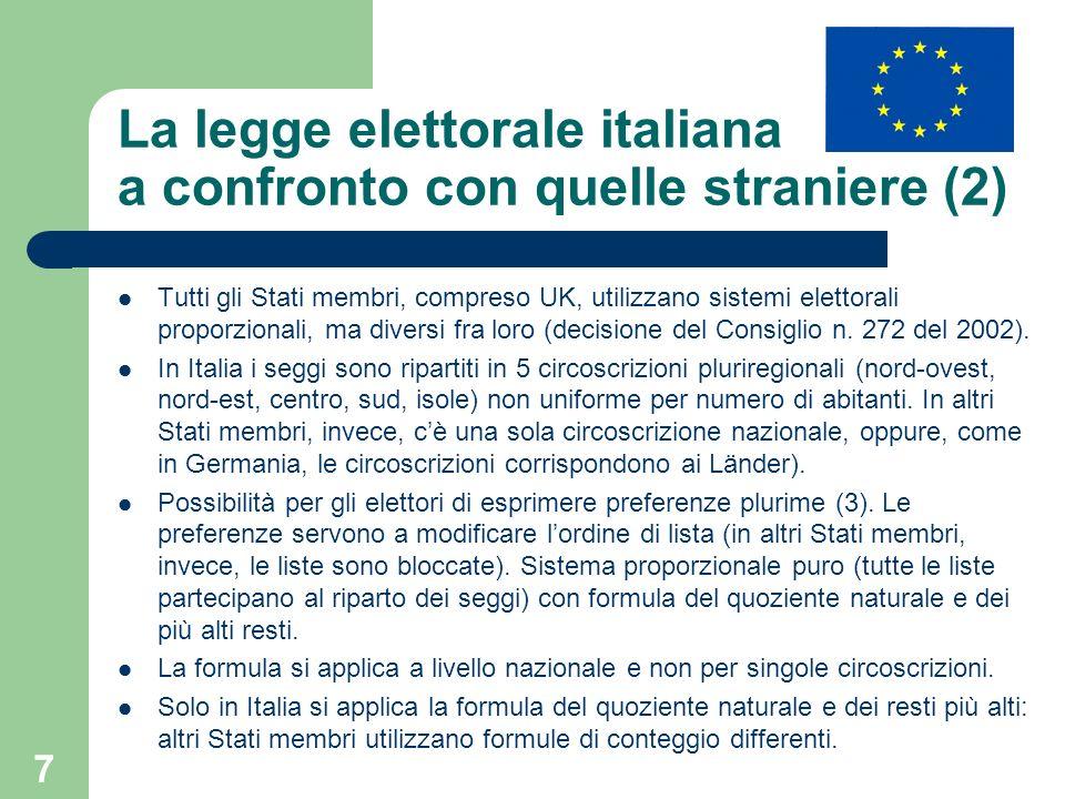 8 La legge elettorale italiana a confronto con quelle straniere (3) Clausola di sbarramento del 4% introdotta nel 2009 in seguito alla decisione del Consiglio n.