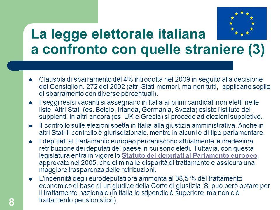 8 La legge elettorale italiana a confronto con quelle straniere (3) Clausola di sbarramento del 4% introdotta nel 2009 in seguito alla decisione del C