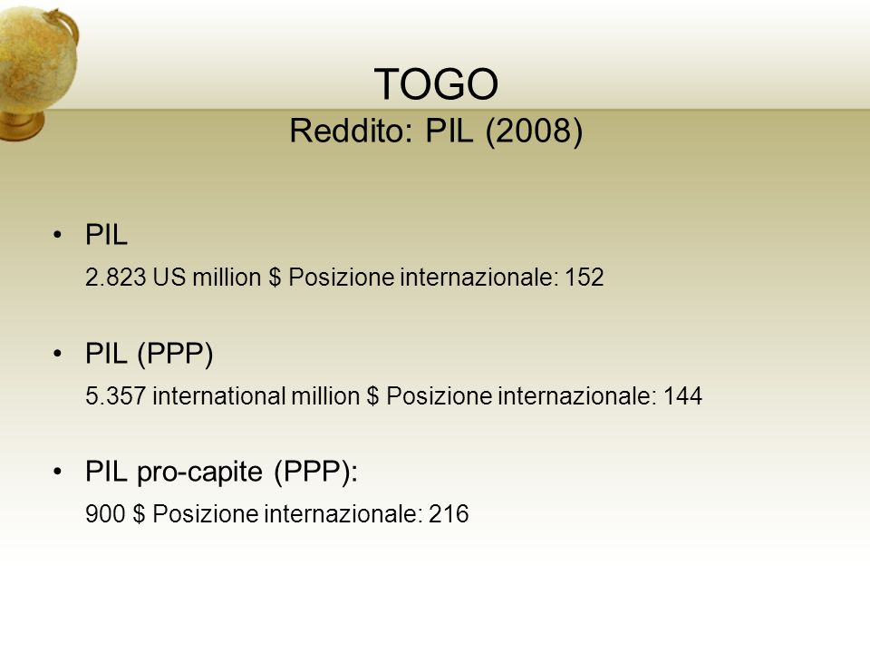 TOGO Reddito: PIL (2008) PIL 2.823 US million $ Posizione internazionale: 152 PIL (PPP) 5.357 international million $ Posizione internazionale: 144 PI