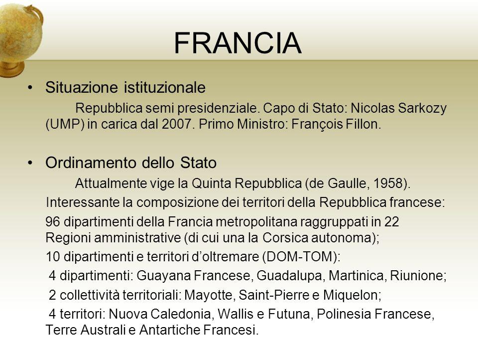 FRANCIA Situazione istituzionale Repubblica semi presidenziale. Capo di Stato: Nicolas Sarkozy (UMP) in carica dal 2007. Primo Ministro: François Fill