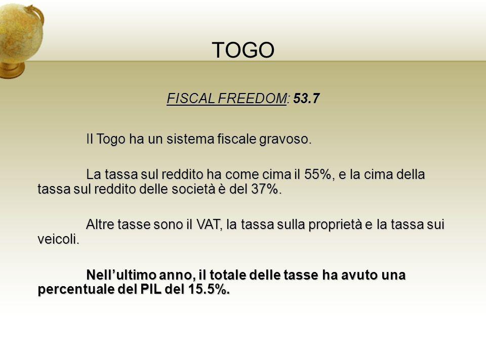 TOGO FISCAL FREEDOM: 53.7 Il Togo ha un sistema fiscale gravoso. La tassa sul reddito ha come cima il 55%, e la cima della tassa sul reddito delle soc