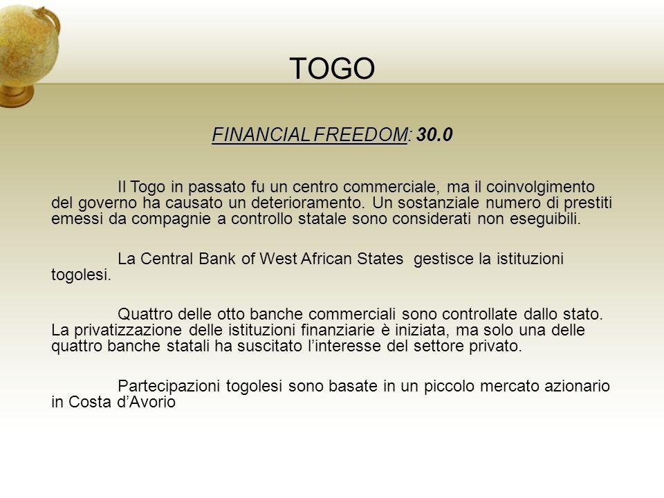 TOGO FINANCIAL FREEDOM: 30.0 Il Togo in passato fu un centro commerciale, ma il coinvolgimento del governo ha causato un deterioramento. Un sostanzial