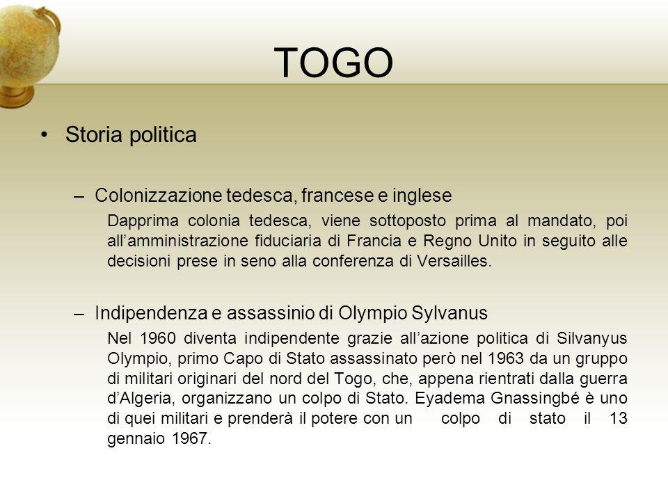 TOGO Storia politica Il generale Eyadéma nel 1969 fonda il partito che gli permetterà di restare al potere: lRPT, Ressemblement du Peuple Togolais.