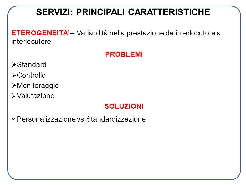 SERVIZI: PRINCIPALI CARATTERISTICHE ETEROGENEITA – Variabilità nella prestazione da interlocutore a interlocutore PROBLEMI Standard Controllo Monitora
