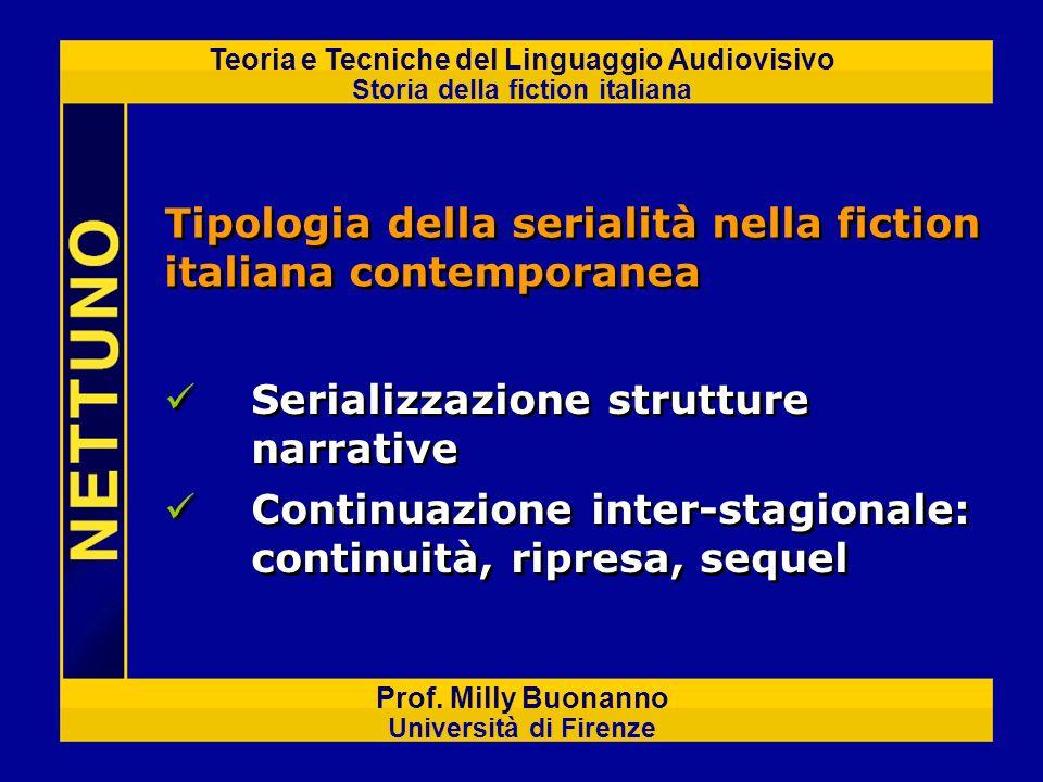 Teoria e Tecniche del Linguaggio Audiovisivo Storia della fiction italiana Prof. Milly Buonanno Università di Firenze Tipologia della serialità nella