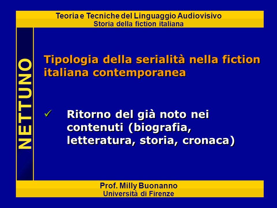 Teoria e Tecniche del Linguaggio Audiovisivo Storia della fiction italiana Prof. Milly Buonanno Università di Firenze Ritorno del già noto nei contenu