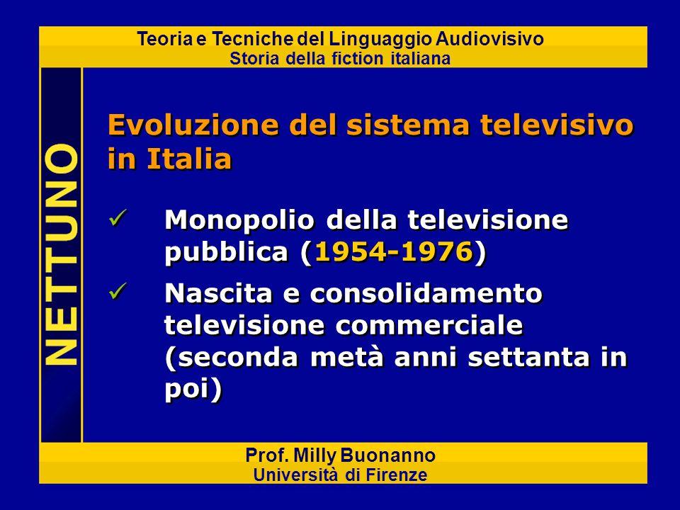 Teoria e Tecniche del Linguaggio Audiovisivo Storia della fiction italiana Prof. Milly Buonanno Università di Firenze Evoluzione del sistema televisiv
