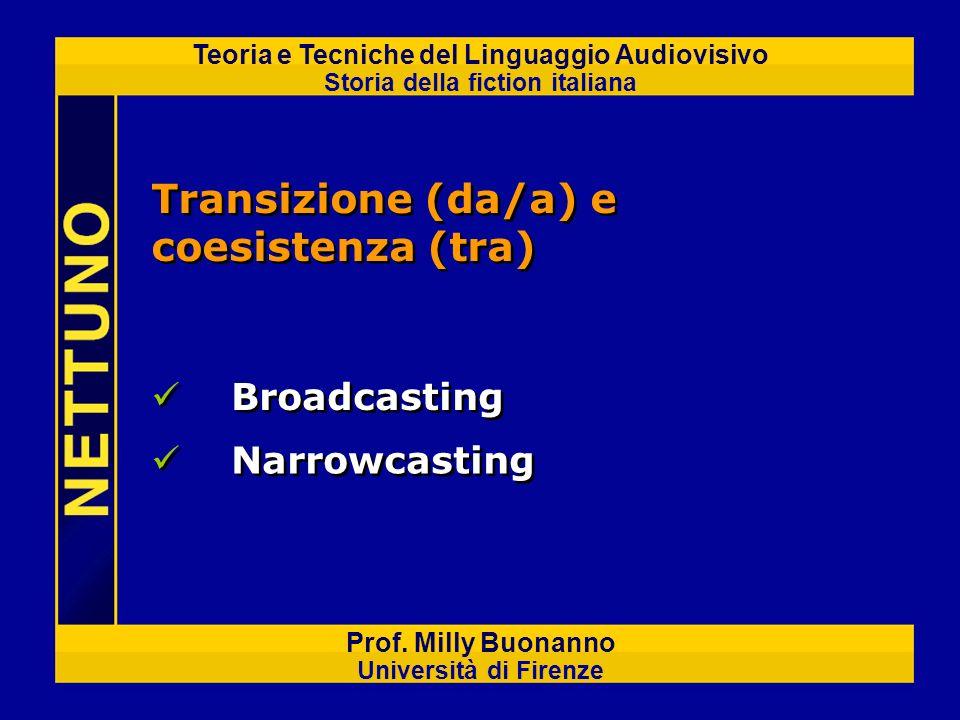 Teoria e Tecniche del Linguaggio Audiovisivo Storia della fiction italiana Prof. Milly Buonanno Università di Firenze Transizione (da/a) e coesistenza