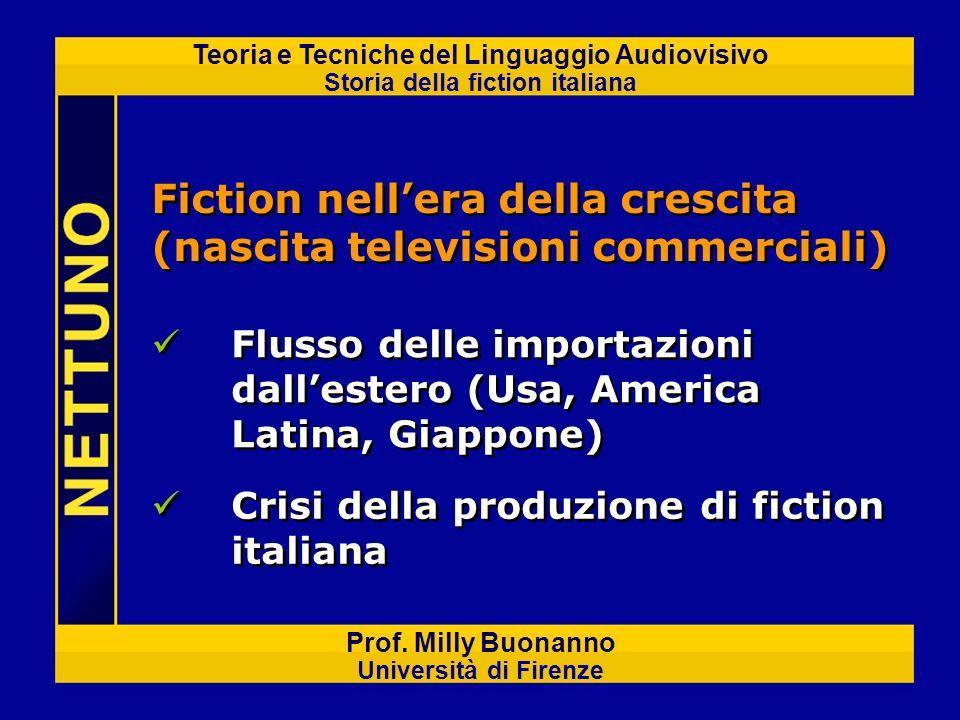 Teoria e Tecniche del Linguaggio Audiovisivo Storia della fiction italiana Prof. Milly Buonanno Università di Firenze Fiction nellera della crescita (