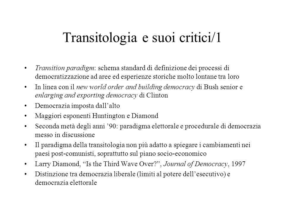 Transitologia e suoi critici/1 Transition paradigm: schema standard di definizione dei processi di democratizzazione ad aree ed esperienze storiche mo