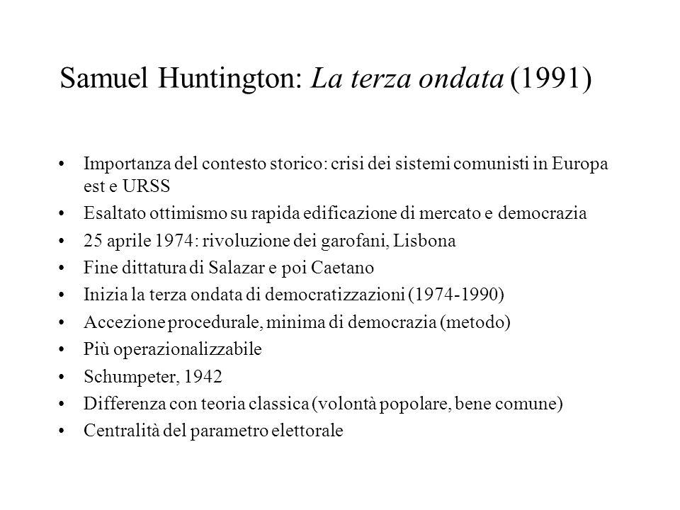 Samuel Huntington: La terza ondata (1991) Importanza del contesto storico: crisi dei sistemi comunisti in Europa est e URSS Esaltato ottimismo su rapi
