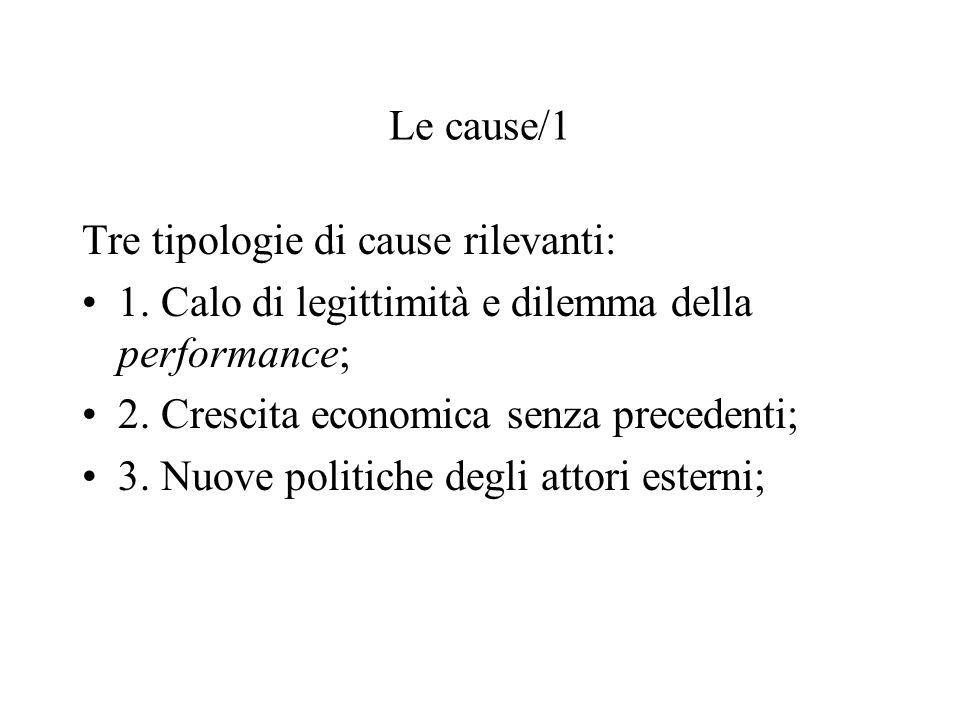 Le cause/1 Tre tipologie di cause rilevanti: 1. Calo di legittimità e dilemma della performance; 2. Crescita economica senza precedenti; 3. Nuove poli