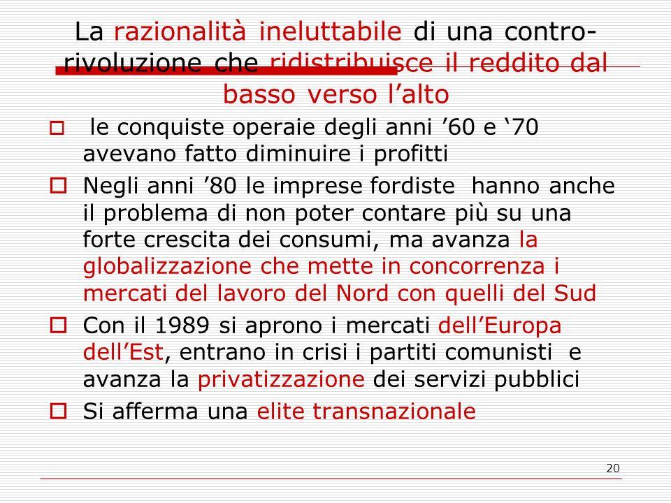 20 La razionalità ineluttabile di una contro- rivoluzione che ridistribuisce il reddito dal basso verso lalto le conquiste operaie degli anni 60 e 70 avevano fatto diminuire i profitti Negli anni 80 le imprese fordiste hanno anche il problema di non poter contare più su una forte crescita dei consumi, ma avanza la globalizzazione che mette in concorrenza i mercati del lavoro del Nord con quelli del Sud Con il 1989 si aprono i mercati dellEuropa dellEst, entrano in crisi i partiti comunisti e avanza la privatizzazione dei servizi pubblici Si afferma una elite transnazionale