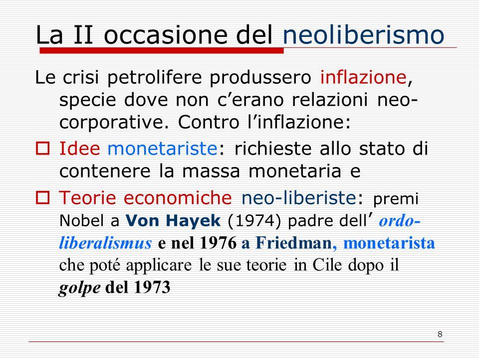 8 La II occasione del neoliberismo Le crisi petrolifere produssero inflazione, specie dove non cerano relazioni neo- corporative.