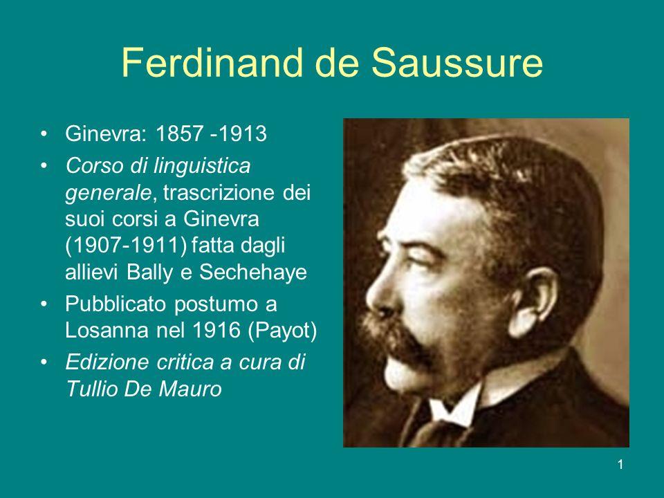 1 Ferdinand de Saussure Ginevra: 1857 -1913 Corso di linguistica generale, trascrizione dei suoi corsi a Ginevra (1907-1911) fatta dagli allievi Bally