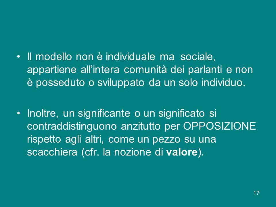17 Il modello non è individuale ma sociale, appartiene allintera comunità dei parlanti e non è posseduto o sviluppato da un solo individuo. Inoltre, u