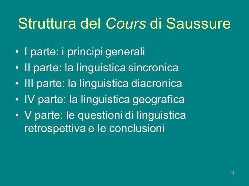 2 Struttura del Cours di Saussure I parte: i principi generali II parte: la linguistica sincronica III parte: la linguistica diacronica IV parte: la l