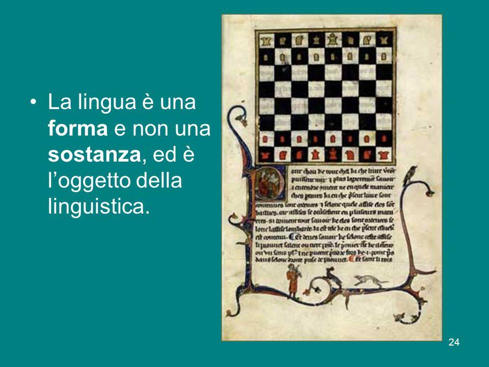 24 La lingua è una forma e non una sostanza, ed è loggetto della linguistica.