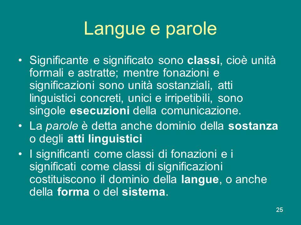 25 Langue e parole Significante e significato sono classi, cioè unità formali e astratte; mentre fonazioni e significazioni sono unità sostanziali, at