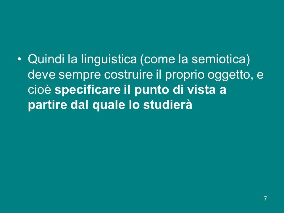 7 Quindi la linguistica (come la semiotica) deve sempre costruire il proprio oggetto, e cioè specificare il punto di vista a partire dal quale lo stud