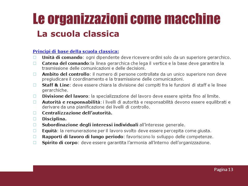 Le organizzazioni come macchine Principi di base della scuola classica: Unità di comando: ogni dipendente deve ricevere ordini solo da un superiore ge