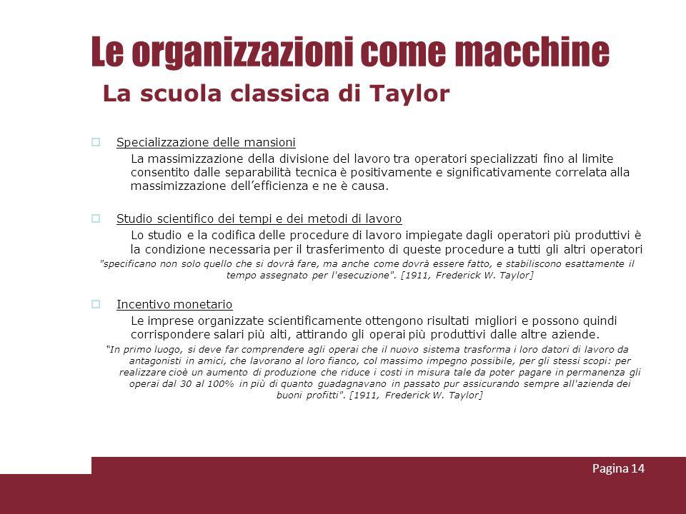 Le organizzazioni come macchine Specializzazione delle mansioni La massimizzazione della divisione del lavoro tra operatori specializzati fino al limi