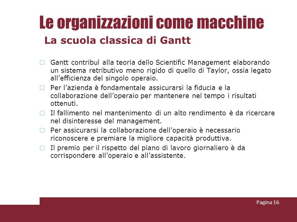 Le organizzazioni come macchine Gantt contribuì alla teoria dello Scientific Management elaborando un sistema retributivo meno rigido di quello di Tay