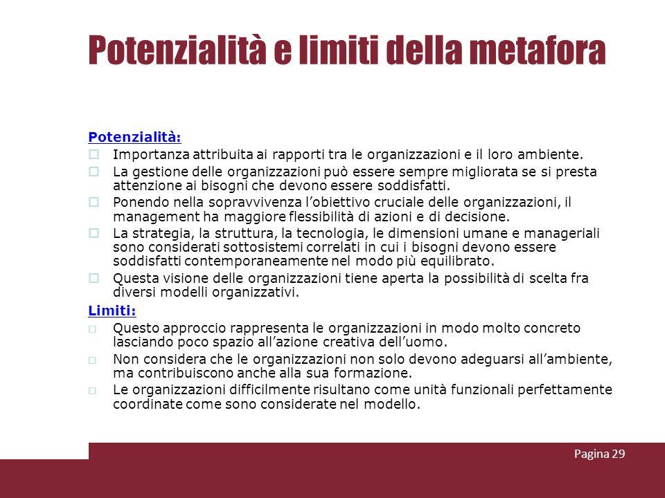 Potenzialità e limiti della metafora Potenzialità: Importanza attribuita ai rapporti tra le organizzazioni e il loro ambiente. La gestione delle organ