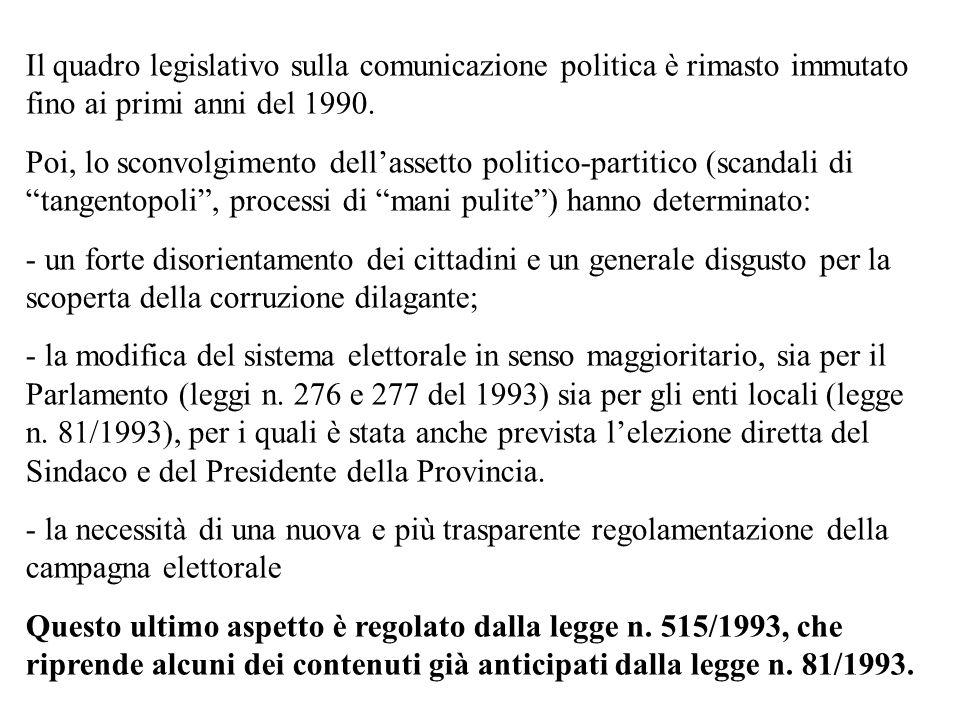 Il quadro legislativo sulla comunicazione politica è rimasto immutato fino ai primi anni del 1990.