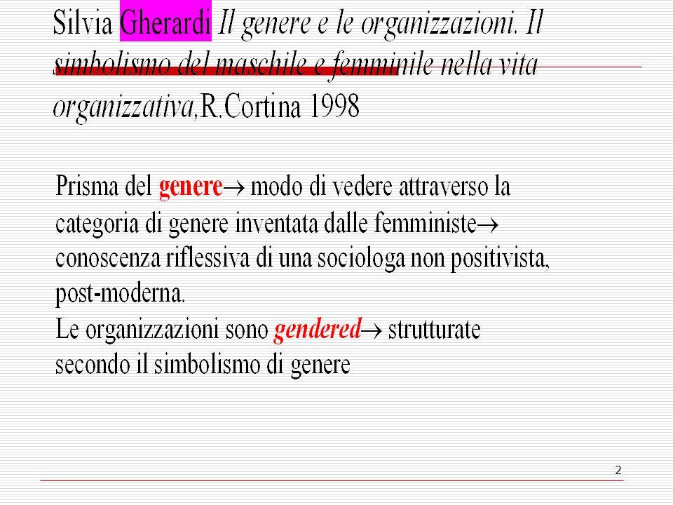 13 qual è la strutturazione di genere di unorg.e quali sono le conseguenze.