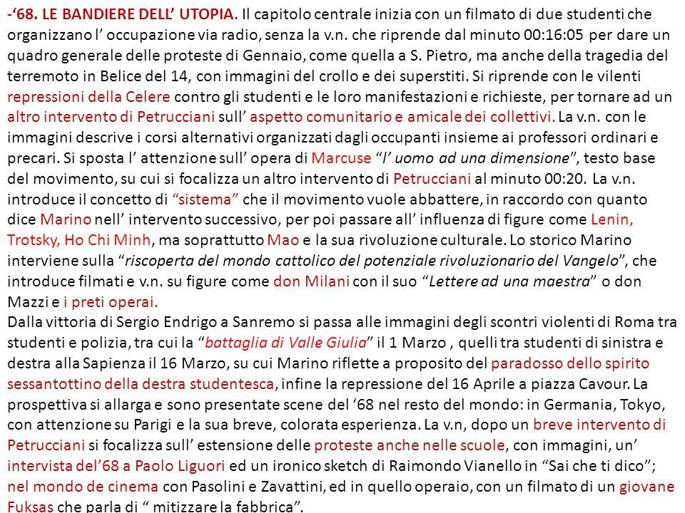 Il terzo capitolo continua con una rappresentazione dell estate italiana del carovacanza, della vittoria degli europei, ma anche delle sanguinose repressioni nel resto del mondo: in Brasile, a Praga, il tragico 68 dell Est, arrivando all Ottobre in Città del Messico, con il massacro di centinaia di studenti.