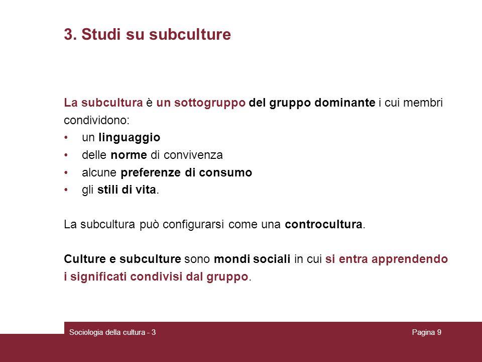 Sociologia della cultura - 3Pagina 9 3. Studi su subculture La subcultura è un sottogruppo del gruppo dominante i cui membri condividono: un linguaggi