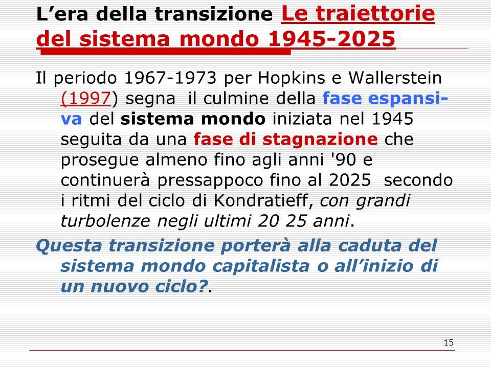 15 Lera della transizione Le traiettorie del sistema mondo 1945-2025 Il periodo 1967-1973 per Hopkins e Wallerstein (1997) segna il culmine della fase espansi- va del sistema mondo iniziata nel 1945 seguita da una fase di stagnazione che prosegue almeno fino agli anni 90 e continuerà pressappoco fino al 2025 secondo i ritmi del ciclo di Kondratieff, con grandi turbolenze negli ultimi 20 25 anni.