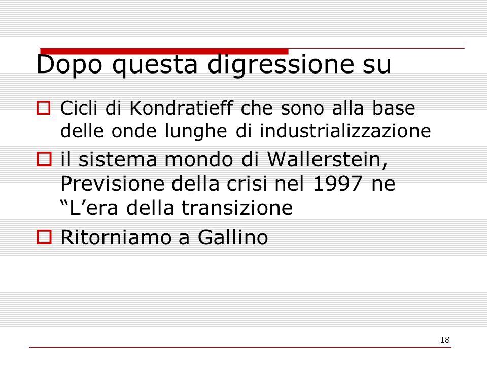 18 Dopo questa digressione su Cicli di Kondratieff che sono alla base delle onde lunghe di industrializzazione il sistema mondo di Wallerstein, Previsione della crisi nel 1997 ne Lera della transizione Ritorniamo a Gallino